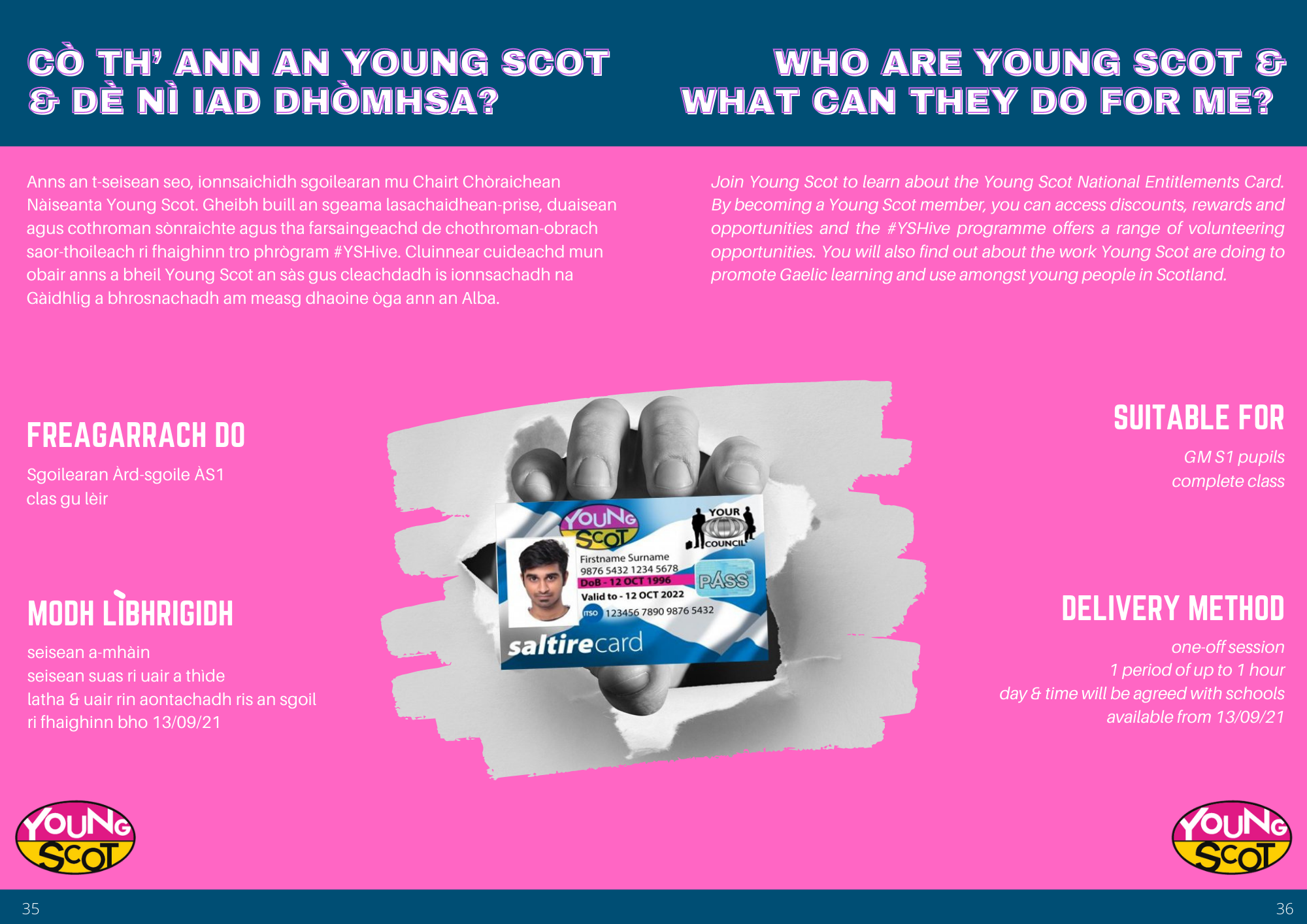 Young Scot - Gaelic National Offers 2021/22